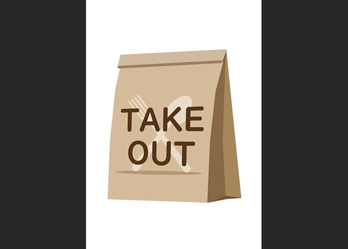 「TAKE OUT」と書かれた紙袋の無料イラスト